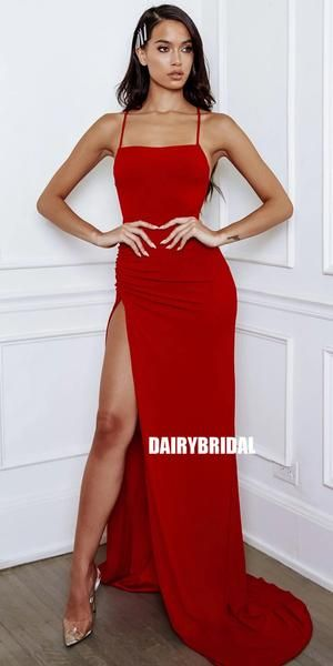 Red Spaghetti Straps Jersey Mermaid Slit Backless Prom Dress, FC3801 - Simple prom dress, Backless prom dresses, Slit dress prom, Red prom dress long, Prom dresses, Silk prom dress - Red Spaghetti Straps Jersey Mermaid Slit Backless Prom Dress, FC3801 This  dress could be custom made, there are no extra cost to do custom size and color  Description of  dress 1, Material jersey, elastic like silk   2, Color picture color or other colors, there are 126 colors are available, please contact us for mo