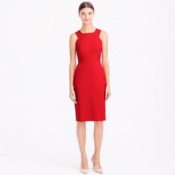 J Crew Cutout Dress In Italian Stretch Wool Knee Length Red
