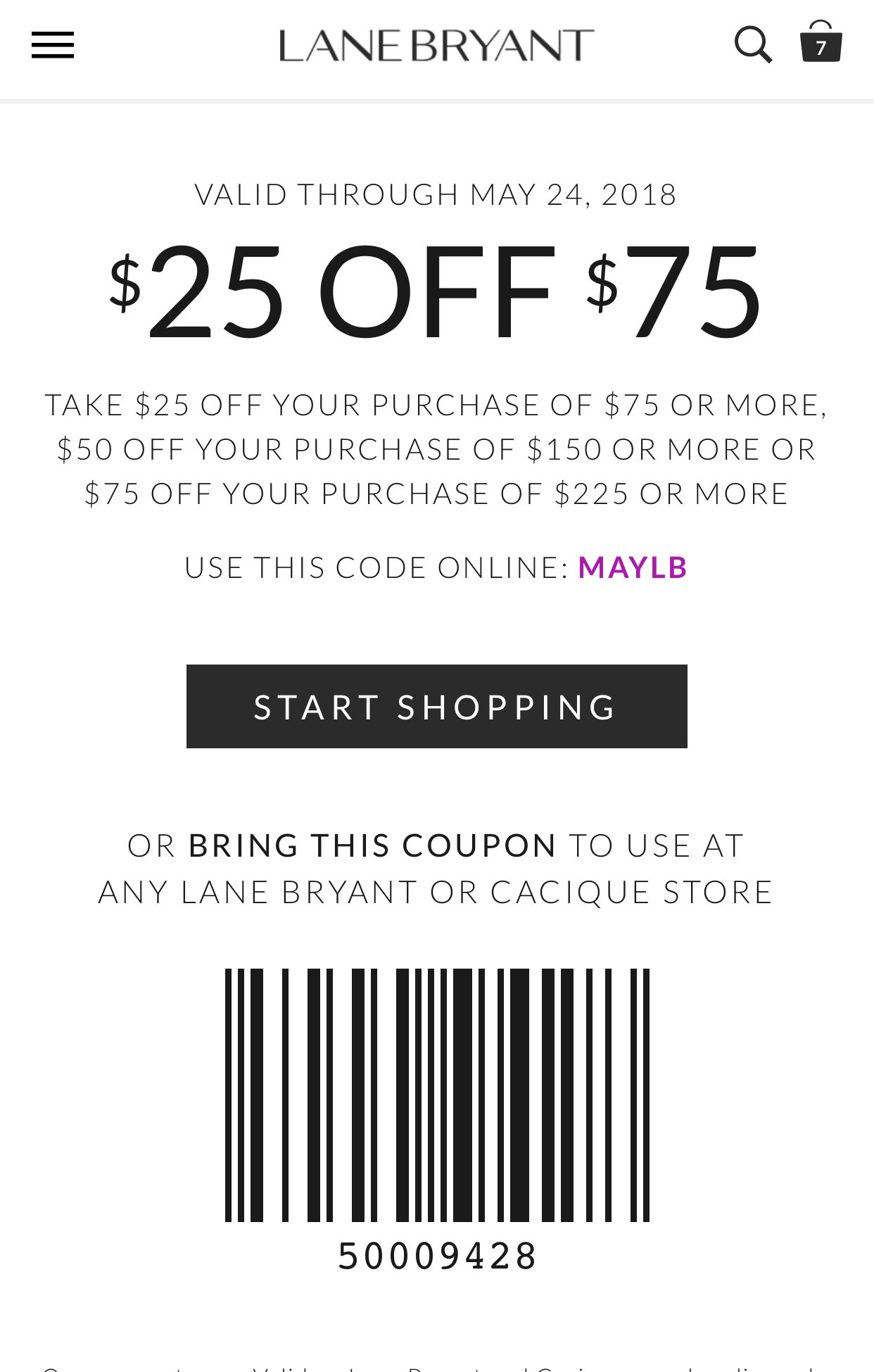 afbf9e5781f6 Up To $75 Off With Minimum Purchase Printable Coupons, Lane Bryant, Home  Goods