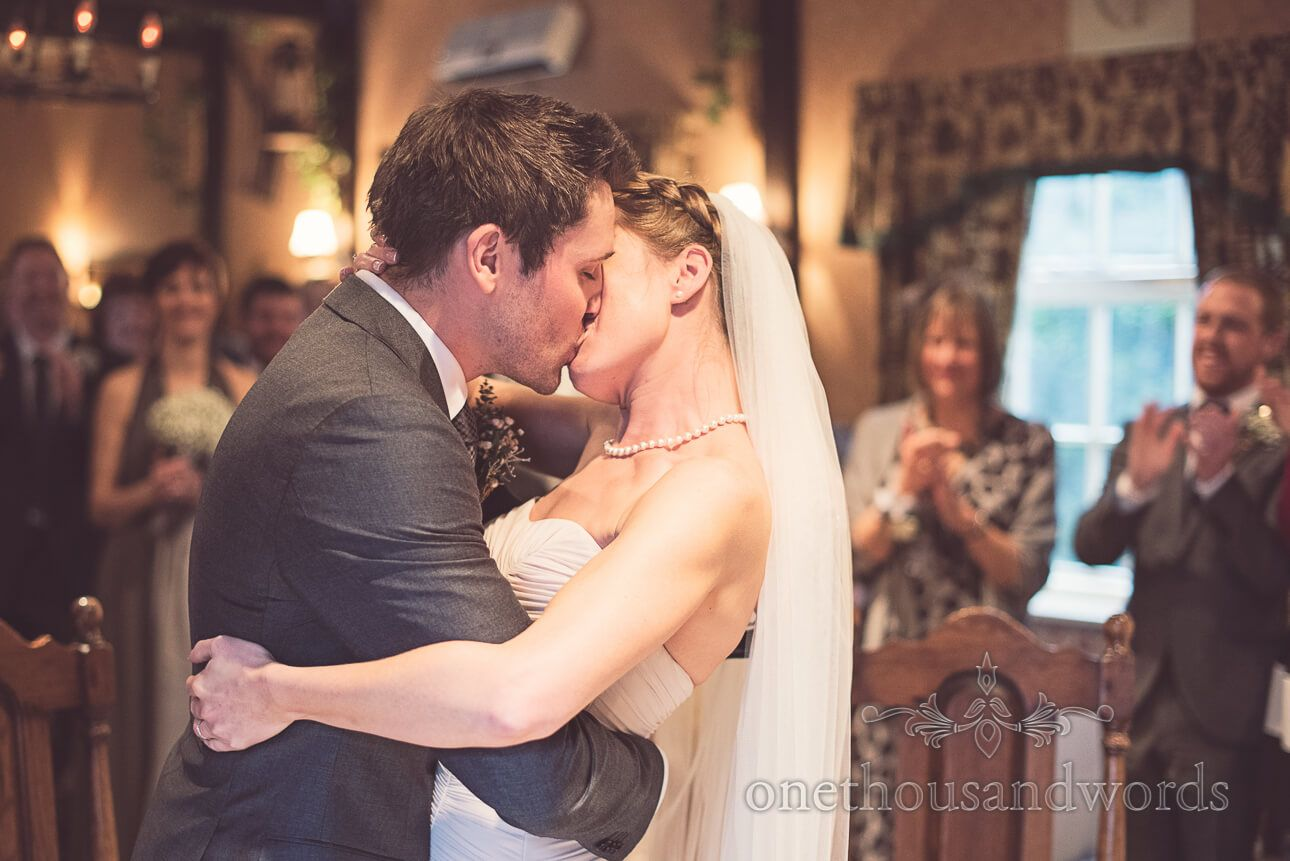 First Kiss At Wedding Ceremony Berkshire Wedding Photography