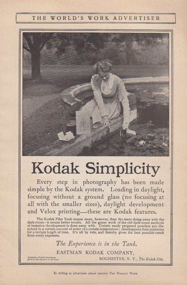1912 Eastman Kodak Co Rochester Ny Ad Every Step In Photography Made Simple Kodak Film Tank Kodak Film