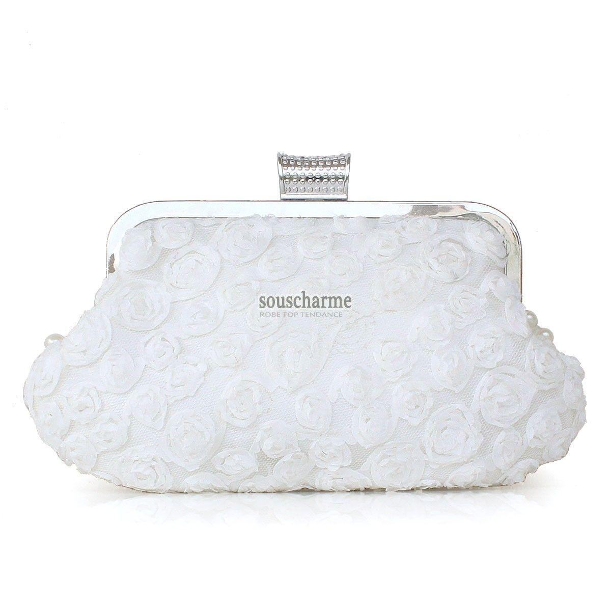 1bdd71aaa7 Pochette mariage blanche en dentelle aux perles simili sac à main de mariée pas  cher