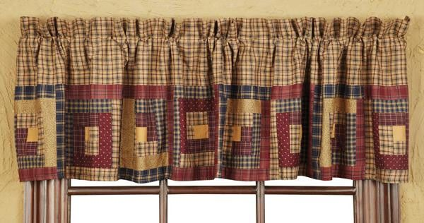 New Primitive Millsboro Navy Blue Tan Red Quilt Patchwork Valance Window Curtain Country Cabin Curtains Log Cabin Rustic Country Style Curtains