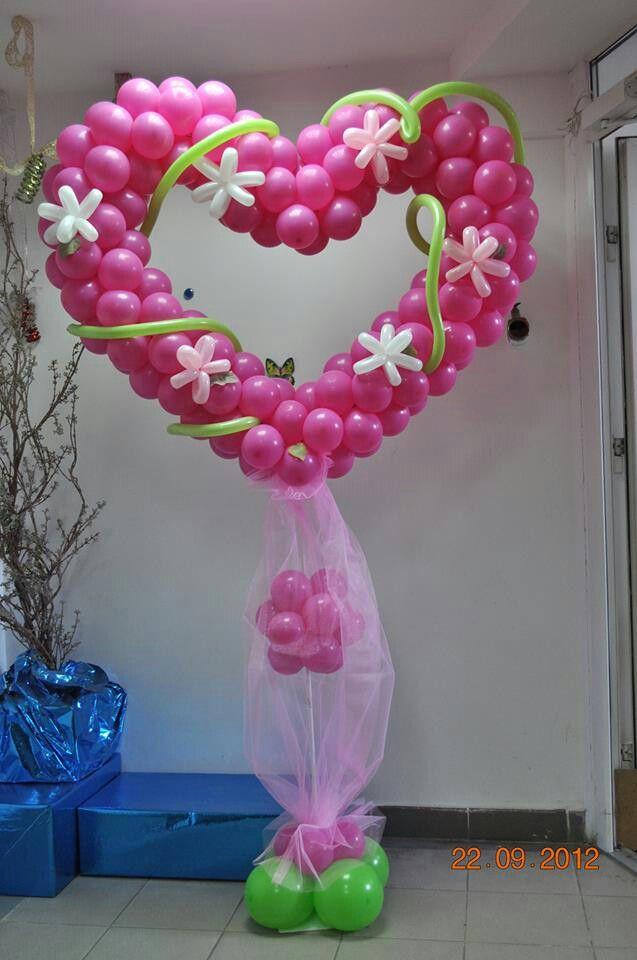 Heart Balloon Pillar Valentines Balloons Balloon Pillars Celebration Balloons