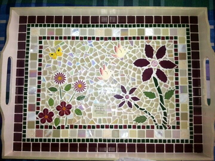 Mosaic tea tray mosaicos pinterest tea tray mosaics and trays - Modele mosaique pour plateau ...
