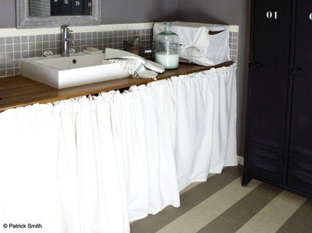 Salle de bains rangements appart salle de bain pinterest salle de bains salle et rangement - Rideau pour salle de bain ...