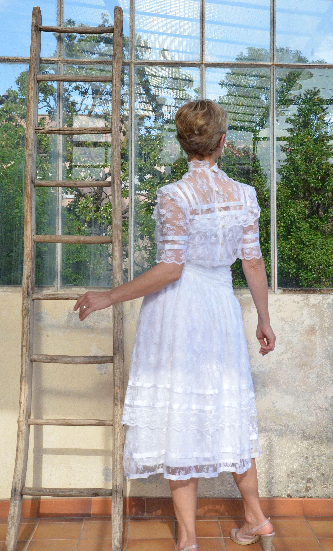 Dress Lace Vintage 80 S White Lace Dress Midi Dress Ruffle Etsy Lace White Dress White Lace Midi Dress Beautiful White Dresses [ 3000 x 1815 Pixel ]