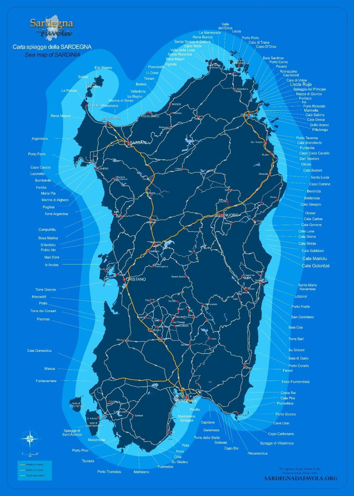 Spiagge Sardegna Cartina.Mappa Spiagge Della Sardegna Sardegna Spiagge Mappa