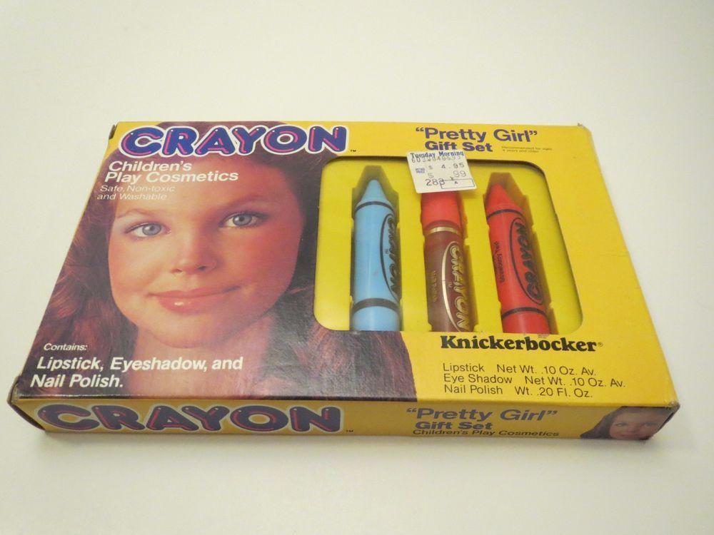VINTAGE KNICKERBOCKER CRAYON 1980s PRETTY GIRL SET CHILDRENS PLAY COSMETICS NEW
