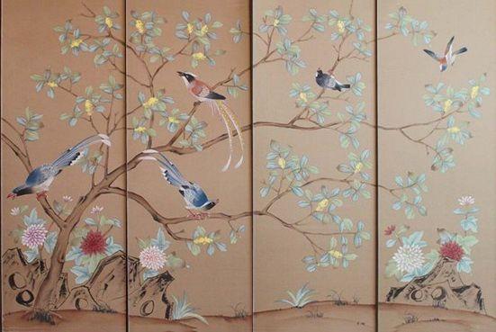 Hand Painted Wallpaper Silk China Grace