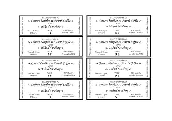 Event Ticket Template Word Billets D'entrée Pour Un Événement  Rifa  Pinterest  Microsoft Office