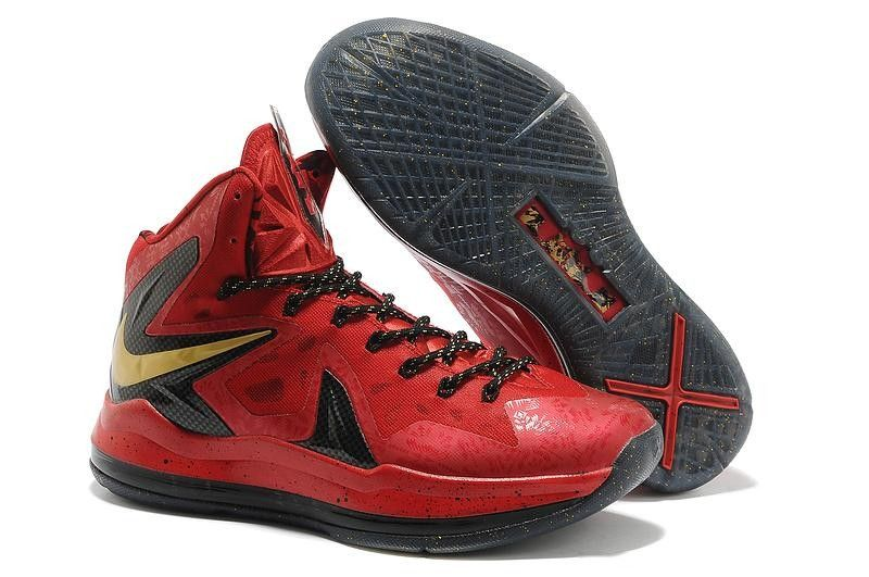 Mens Nike LeBron X Championship Pack Red Black Gold Shoes