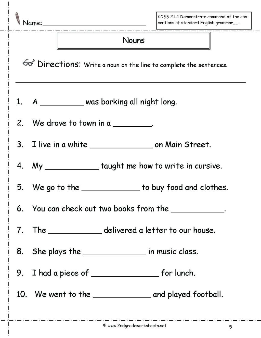3rd Grade Grammar Worksheets Free Worksheet 2nd Grade Reading Prehension Worksheets Pdf In 2021 Nouns Worksheet Grammar Worksheets Possessive Nouns Worksheets
