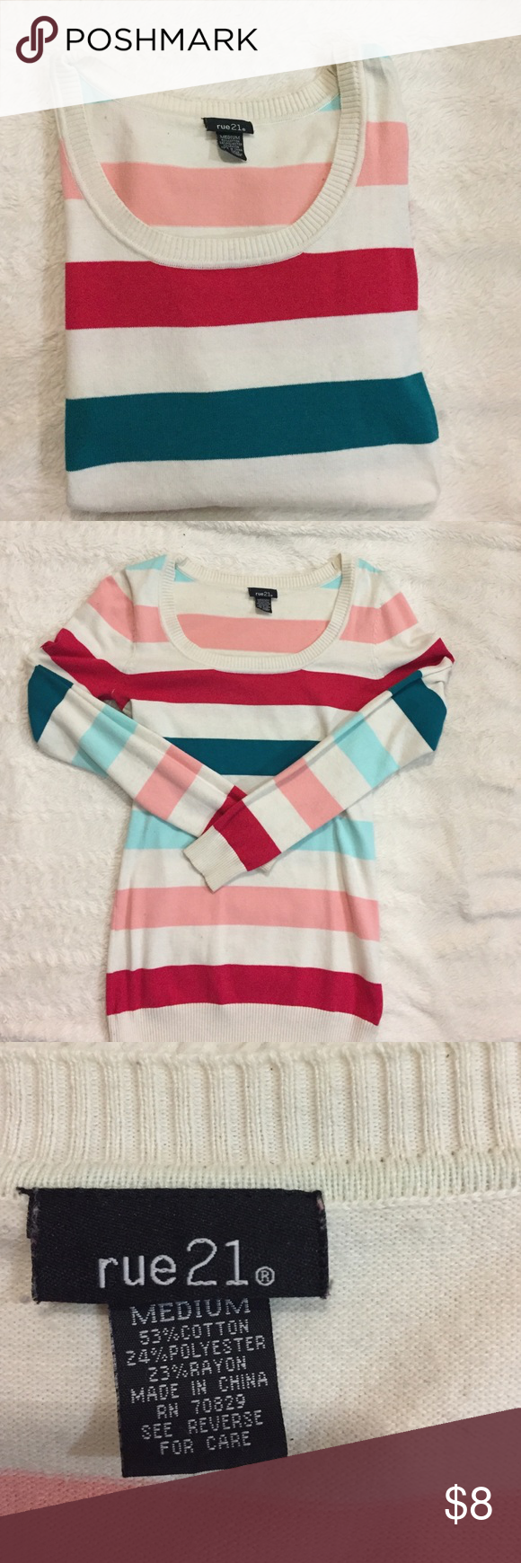 Rue 21 Multicolored Striped Sweater | Rue 21, Red lights and Scoop ...
