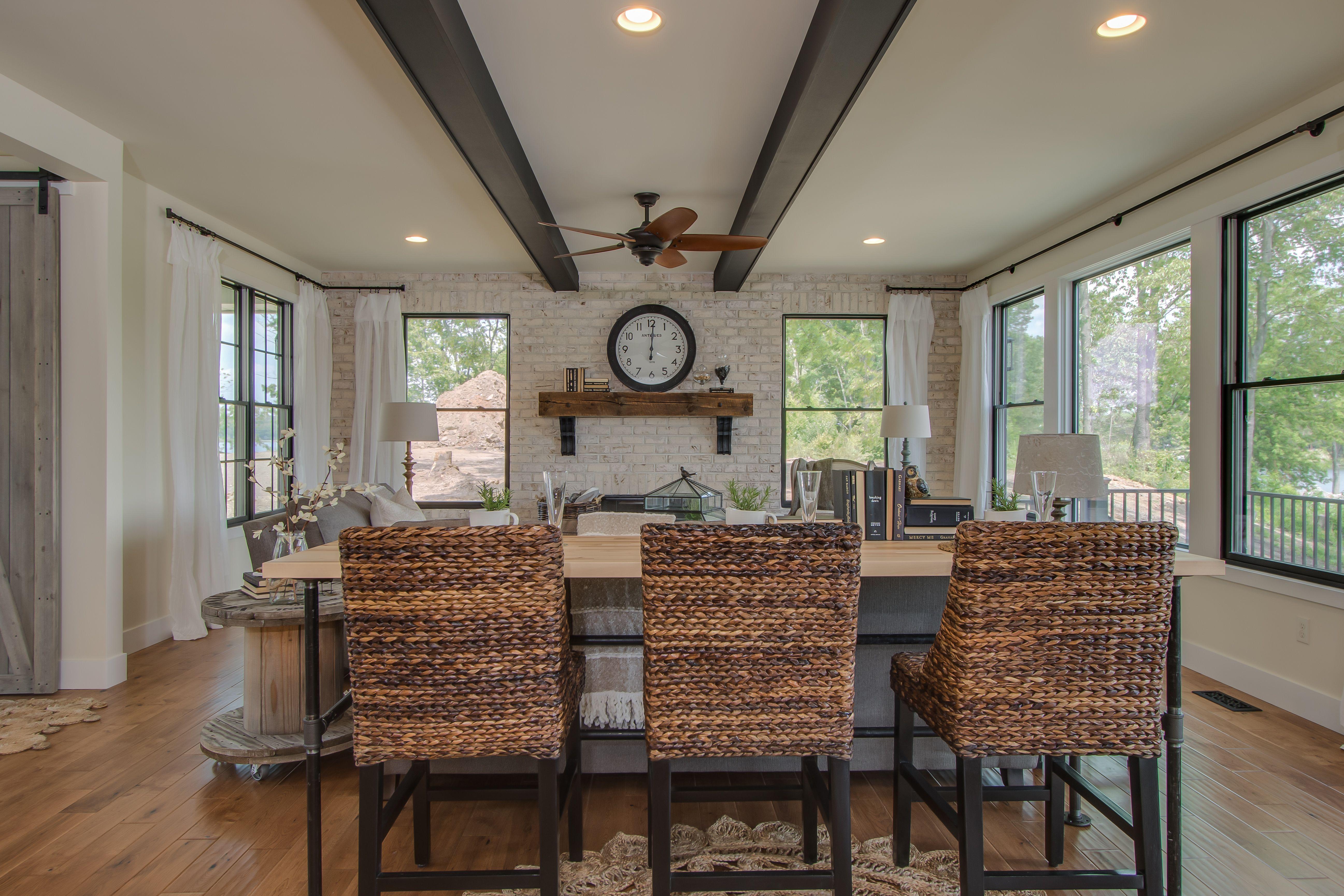 Living Room: hand scraped oak hardwood floors, painted ...