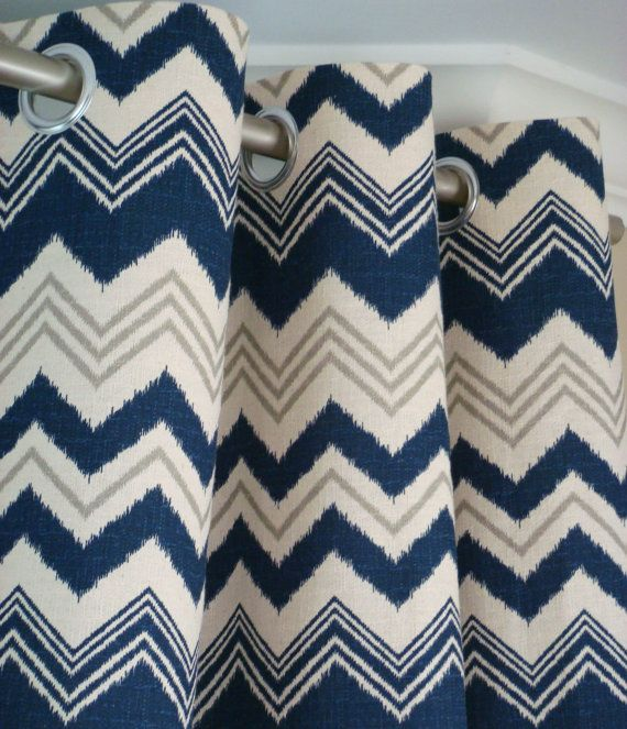 Pair Of Grommet Top Curtains In Navy Blue, Gray And