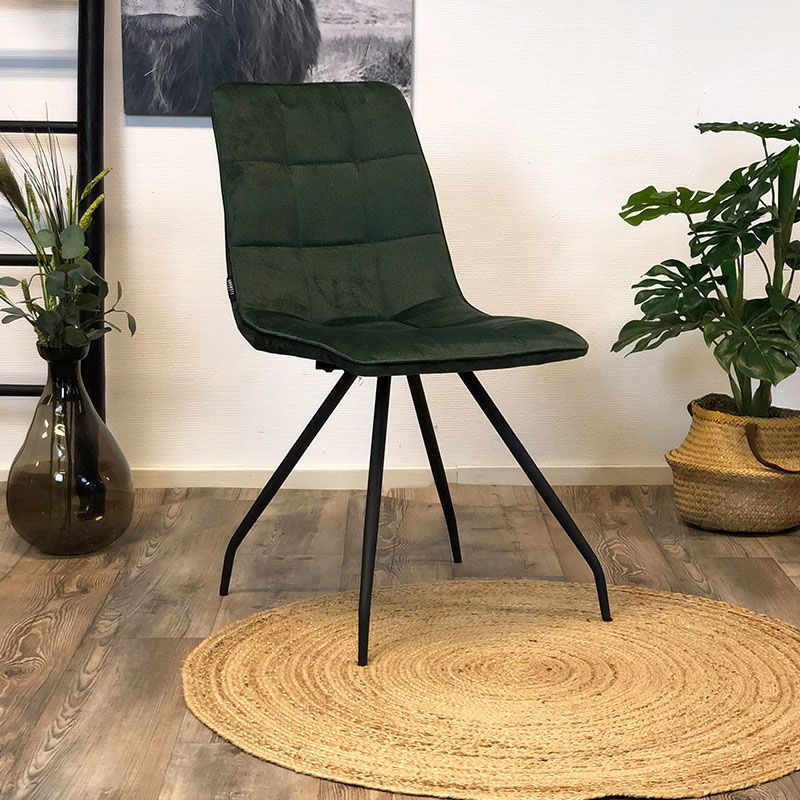 Velvet eetkamerstoel groen zonder armleuning | Geruit