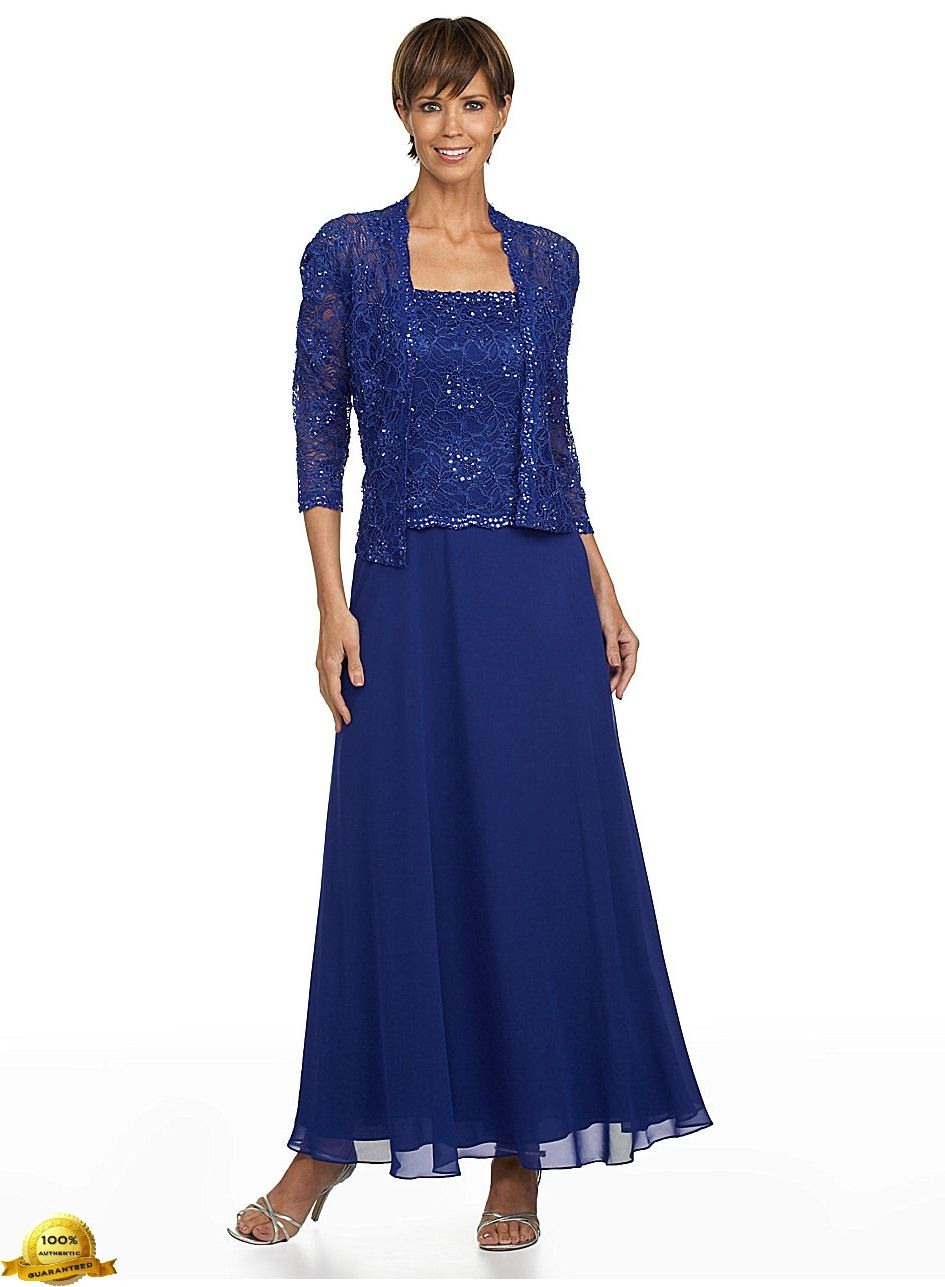 Karen Miller 6540 Chiffon Dress with Lace Jacket in Sapphire ...
