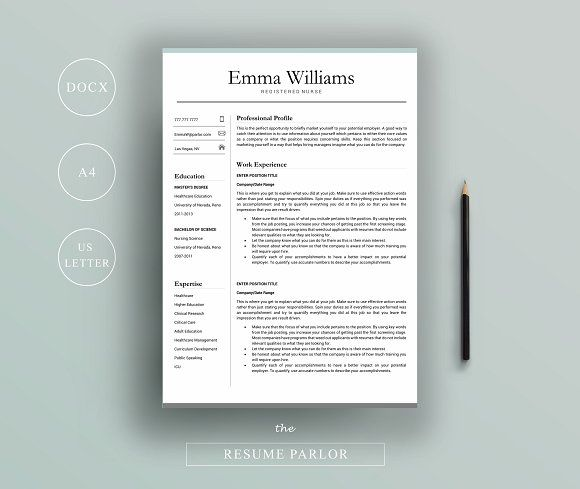 Resume 4 Page A4 + US Letter by The Resume Parlor on - resume business cards