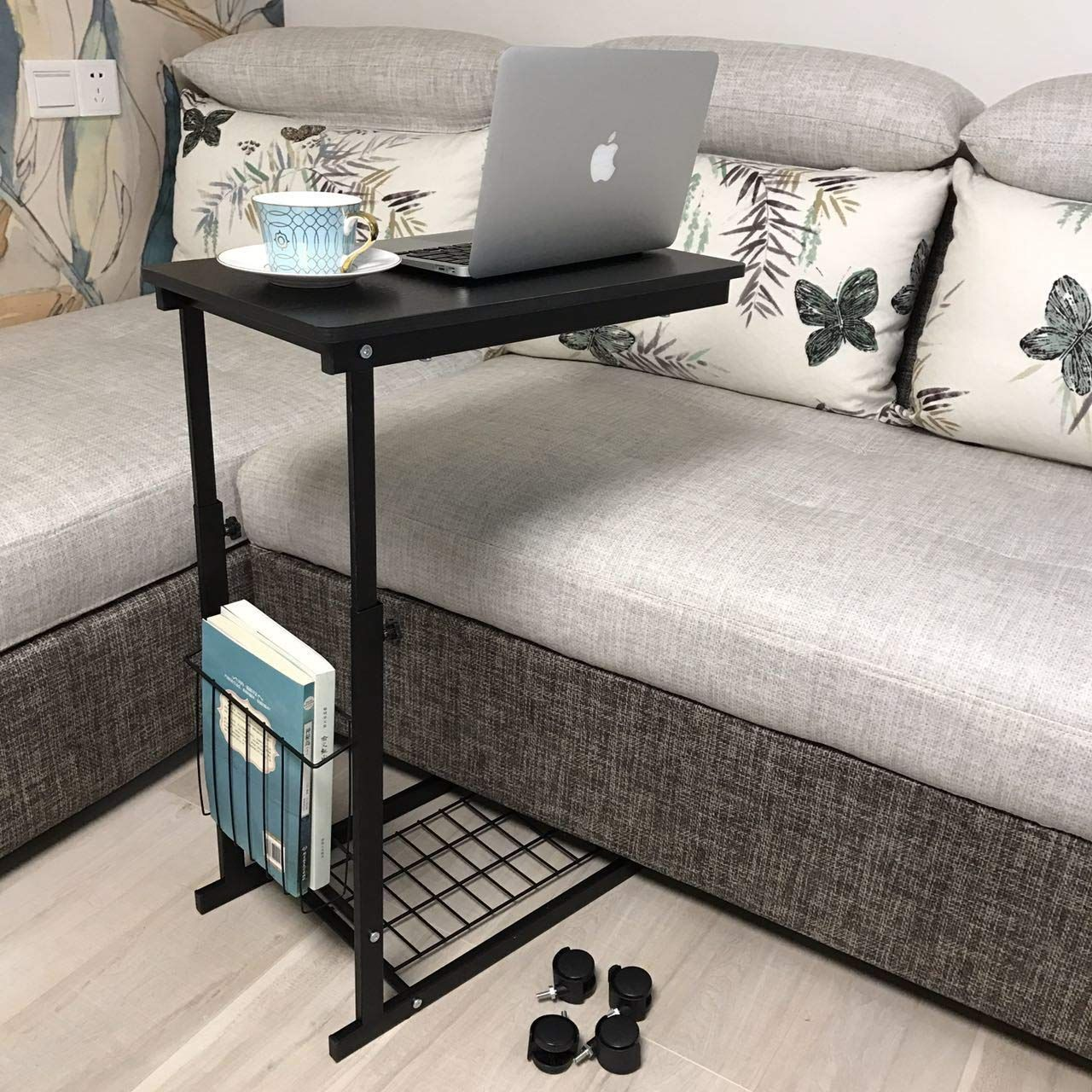Micoe Height Adjustable With Wheels Sofa Side Table Slide Under Adjustable Console Table With Storage For Entryway Sofa Side Table Couch Table Adjustable Table