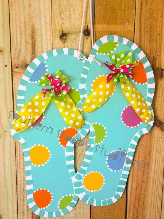 Summer Flip Flops Door Hanger By Southernshabbystudio On