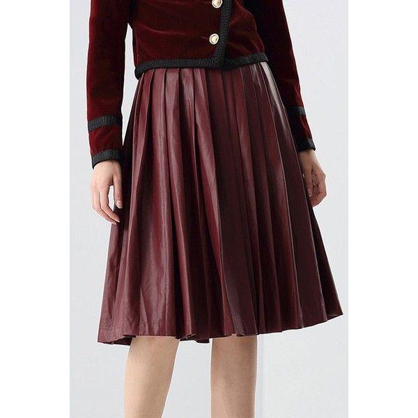 pleated midi pu leather skirt 4 690 inr liked on
