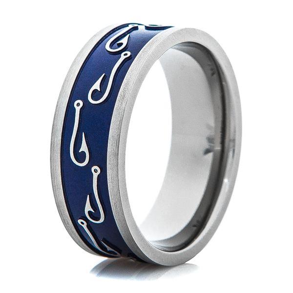 Men S Blue Titanium Fish Hook Wedding Ring Blue Wedding Rings Wedding Rings Blue Titanium
