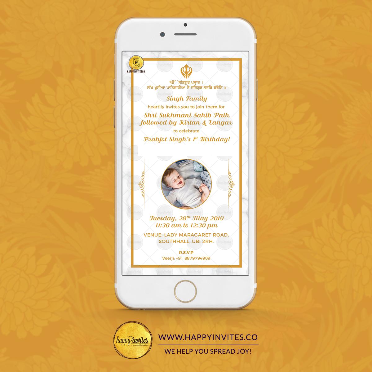 Sukhmani Sahib Path Invitation Online Whastapp Card Happy Invites 1st Birthday Invitations Online Invitations Invitation Cards