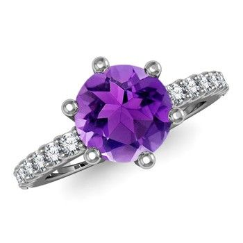 Angara Amethyst Ring with Diamond Halo in Yellow Gold Uykq3VF