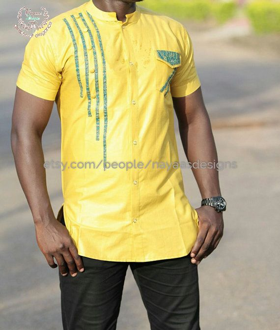Porter Manches Courtes Africaine Pour Hommes Par Nayaasdesigns