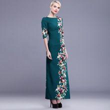 2016 Elegant Floral Print Half Sleeve Cheongsam Slash Maxi Long Women Sheated Dress XXXL Plus Size Vestido Longo Estampado DF(China (Mainland))
