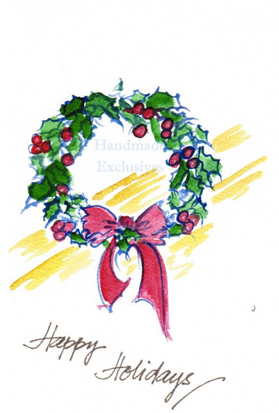 Assorted Christmas cards, set of 10, Ornaments, Poinsettias, berries ...