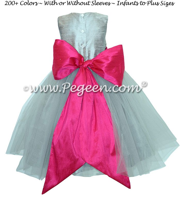 Silver gray and boing hot pink flower girl dresses with gray tulle silver gray and boing hot pink flower girl dresses with gray tulle mightylinksfo