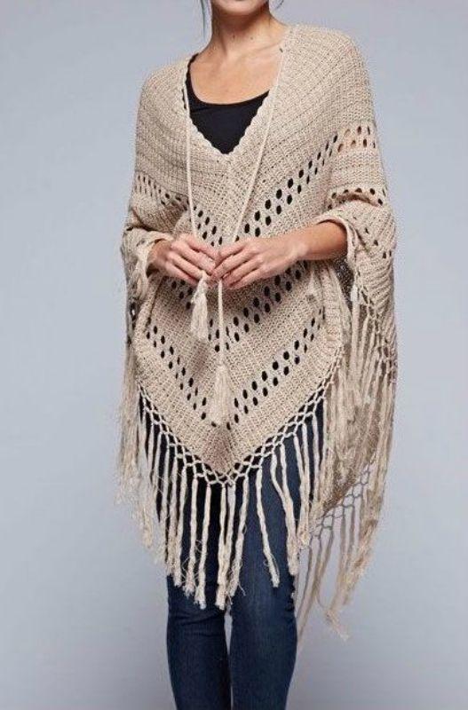 вязание крючком пончо Crocheting Knitting пончо связанное