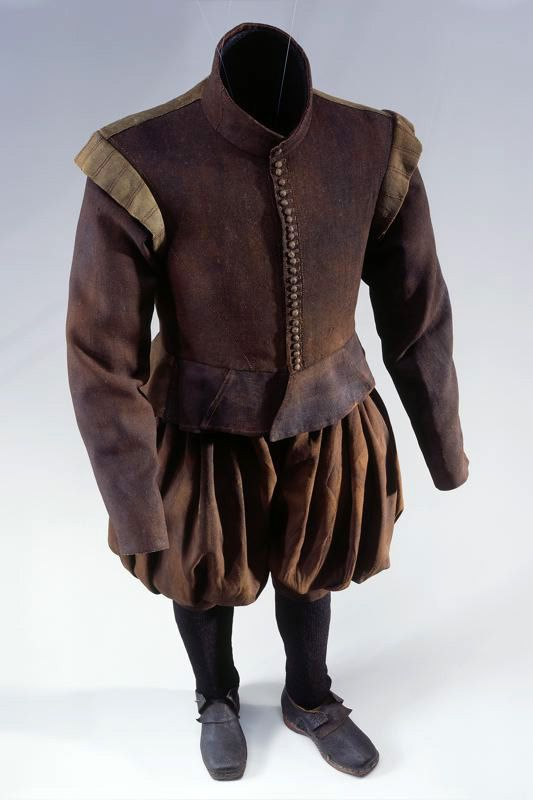 full suit of clothes of a certain junkers von bodegg of the augsburg  full suit of clothes of a certain junkers von bodegg of the augsburg line, 1599 1637 consisting of velvet cap, trousers and jacket in brown wool twill