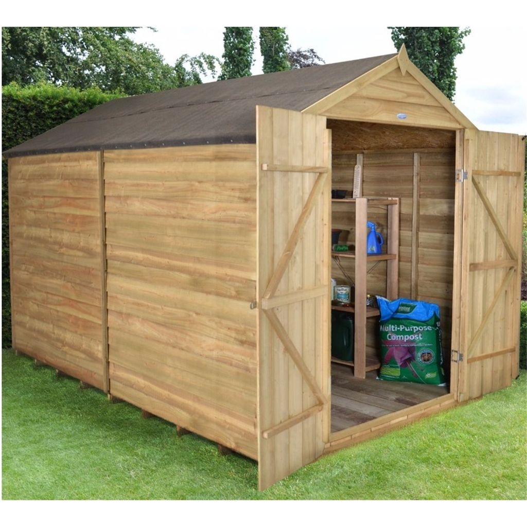10ft X 8ft Pressure Treated Windowless Overlap Apex Shed With Double