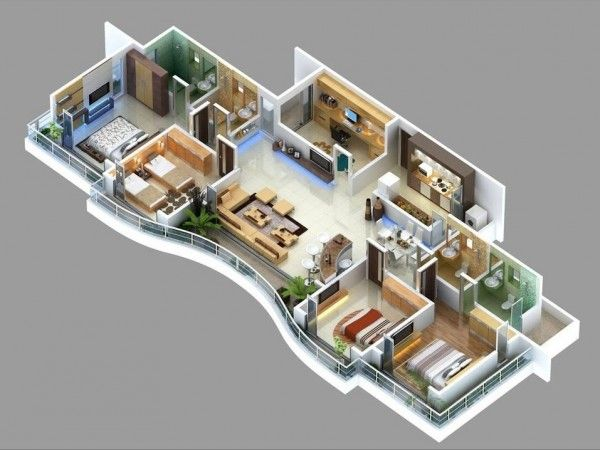 4 Bedroom Apartment House Plans Model House Plan House Plans 3d House Plans
