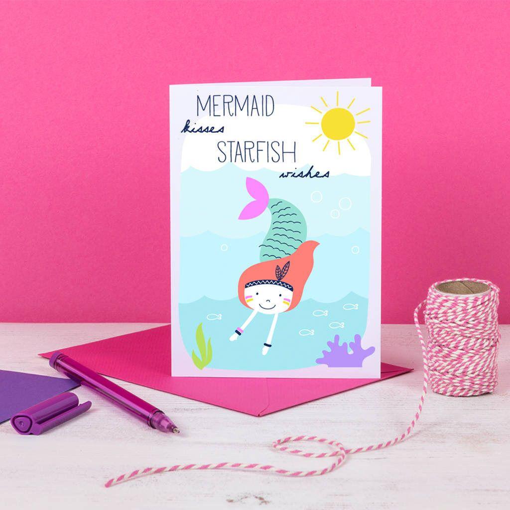 Mermaid kisses and starfish wishes birthday card fun mermaid