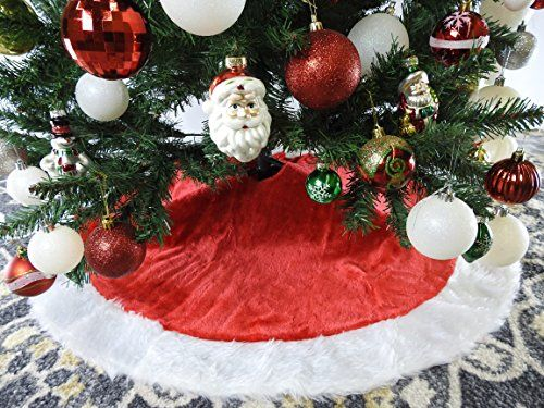 Red and White Plush Christmas Tree Skirt 40 Inch *** You can get