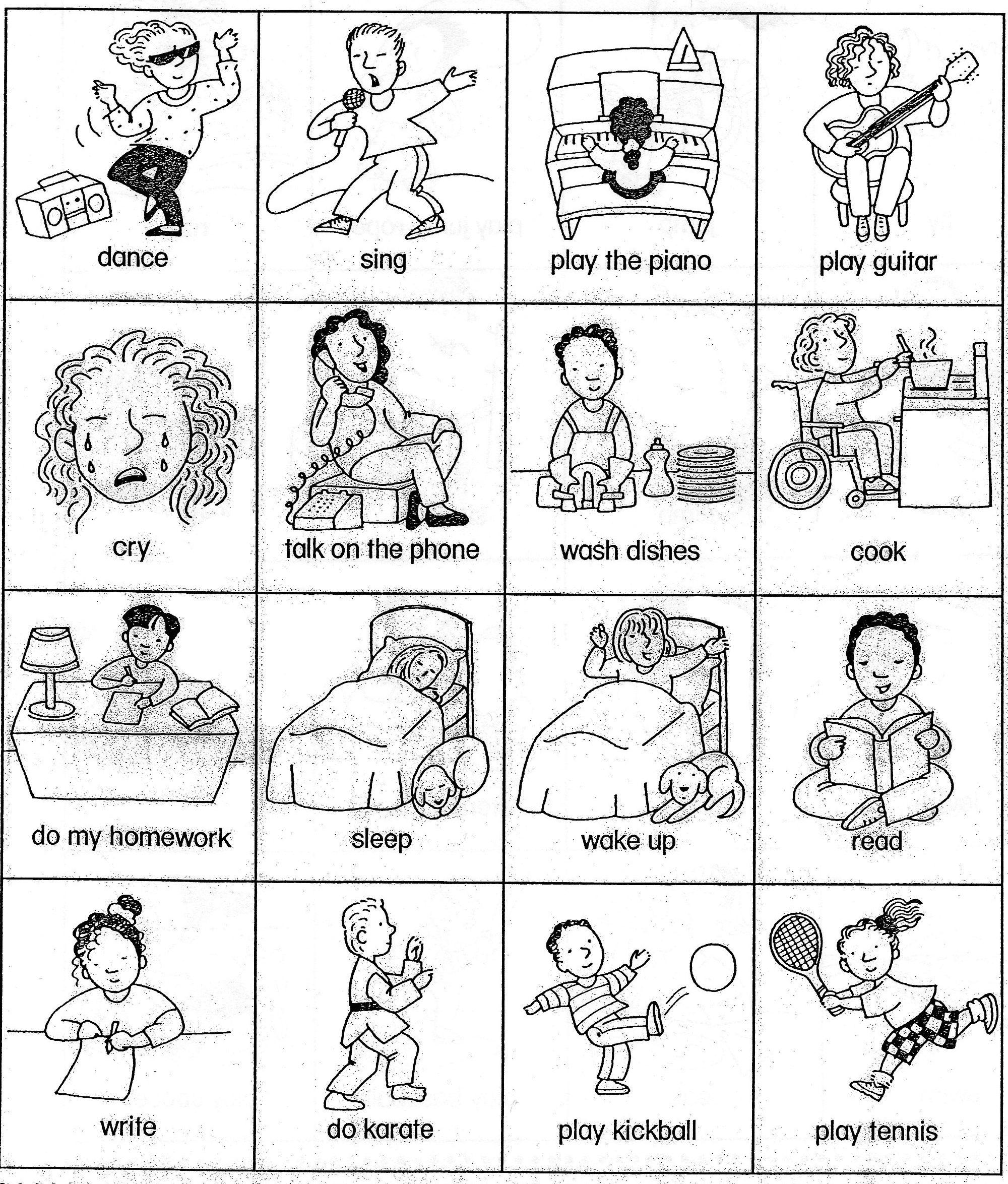 Esl Verb Cards Actions For Beginner Gesture Game