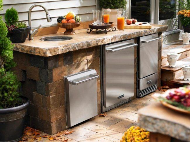 outdoor-kuche-garten-edelstahl-geraete-spuele | Ude køkken | Pinterest