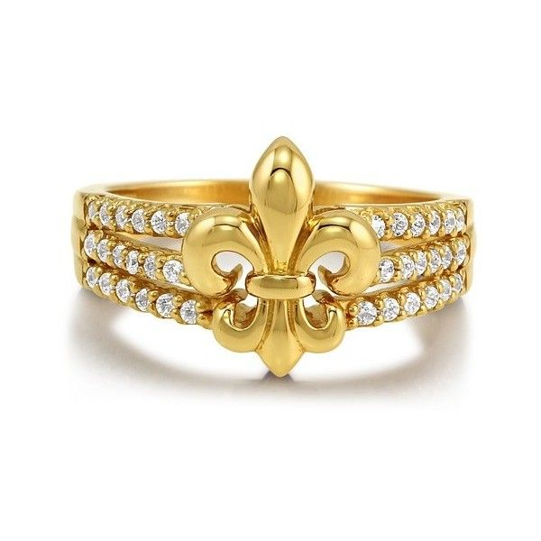 CZ 14K Gold Over Sterling Silver Vermeil 3-Row Fleur De Lis Ring ($50) ❤ liked on Polyvore