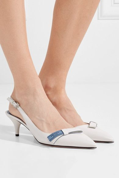 5b6f77075 Heel measures approximately 55mm/ 2 inches White, baby-blue and black  leather (Goat) Buckle-fastening slingback strap Made in Italy