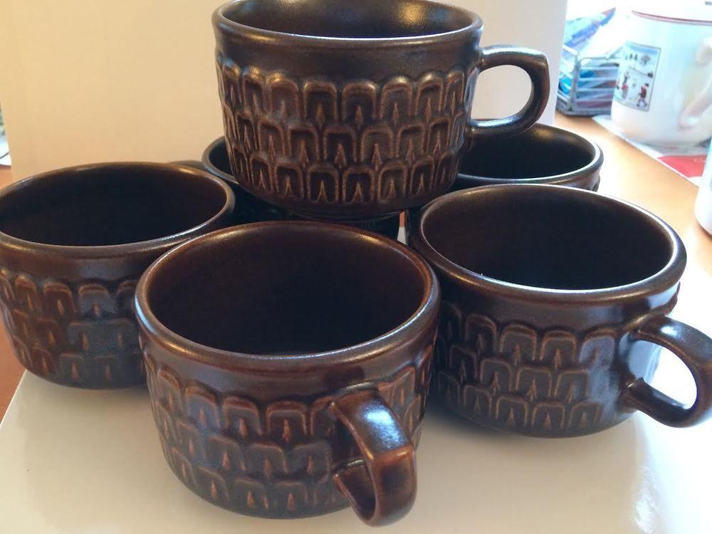 Vintage Wedgwood Pennine Brown Cups Lot of 6 Stonewear England #Wedgwood & Vintage Wedgwood Pennine Brown Cups Lot of 6 Stonewear England ...