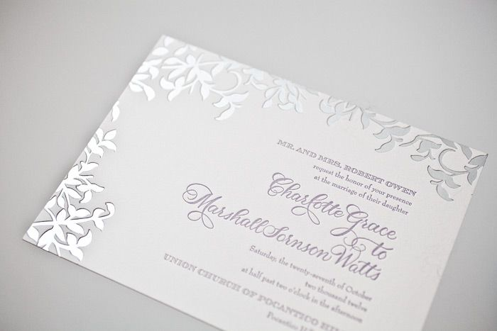 Gold Foil Stamped Wedding Invitations: Matte Silver Foil Stamped Gramercy Wedding Invitation With