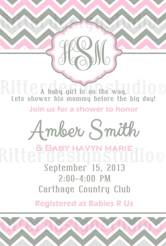 Chevron Monogram Pink Grey Baby Shower Invitation - Printable | T ...