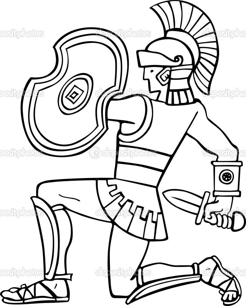Athenian Soldier Colouring Pages Coloring Book Art