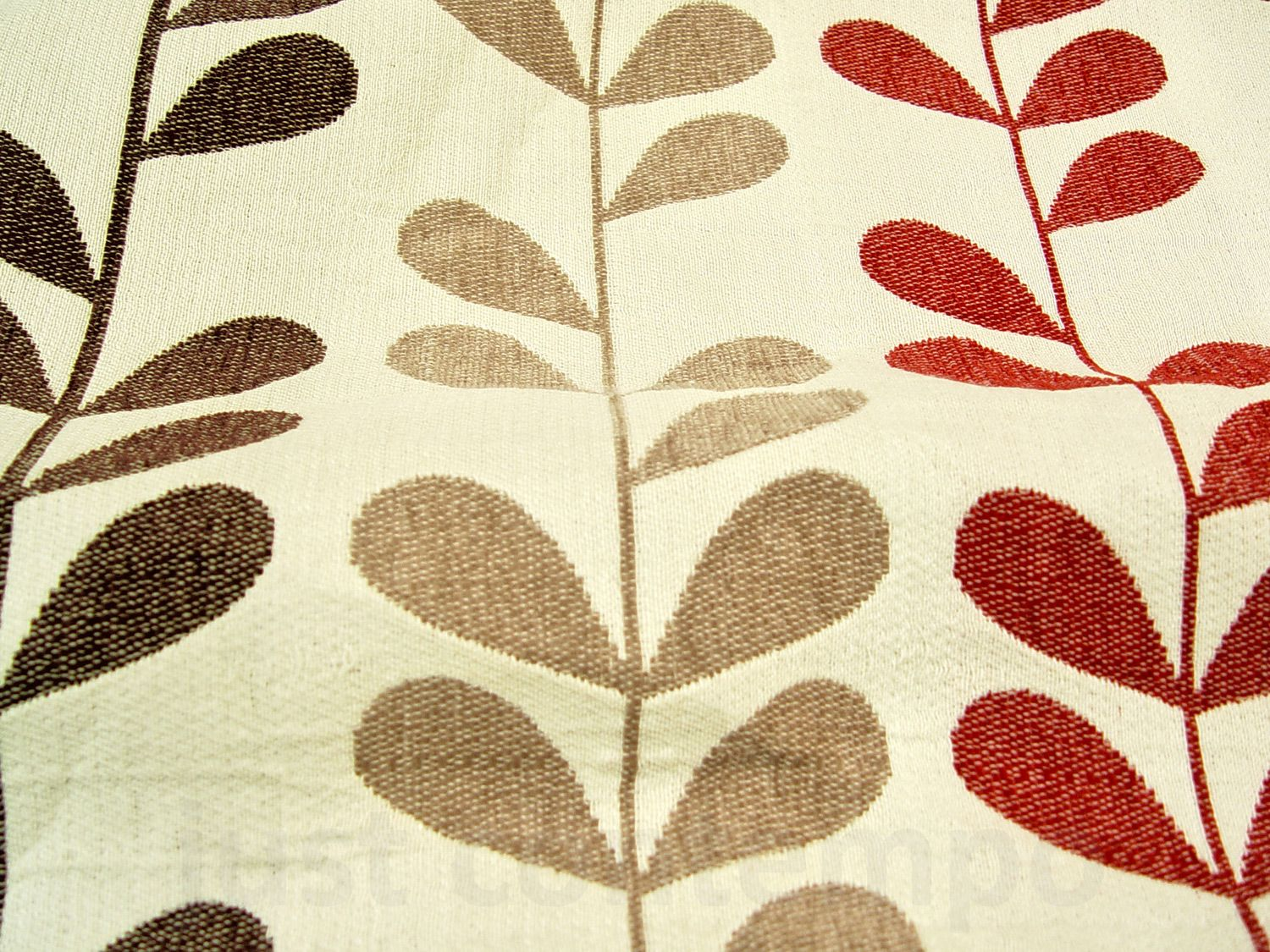 Red patterned curtains - Rhythm Heavy Chenille Red Brown Eyelet Curtain