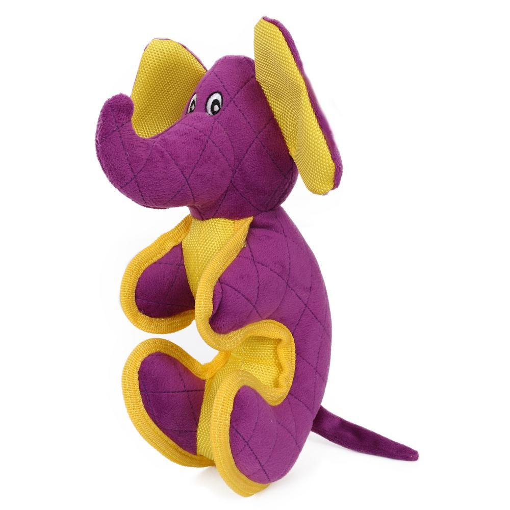 Pet Life Purple Cartoon Funimal Plush Animal Squeak Chew Tug Dog