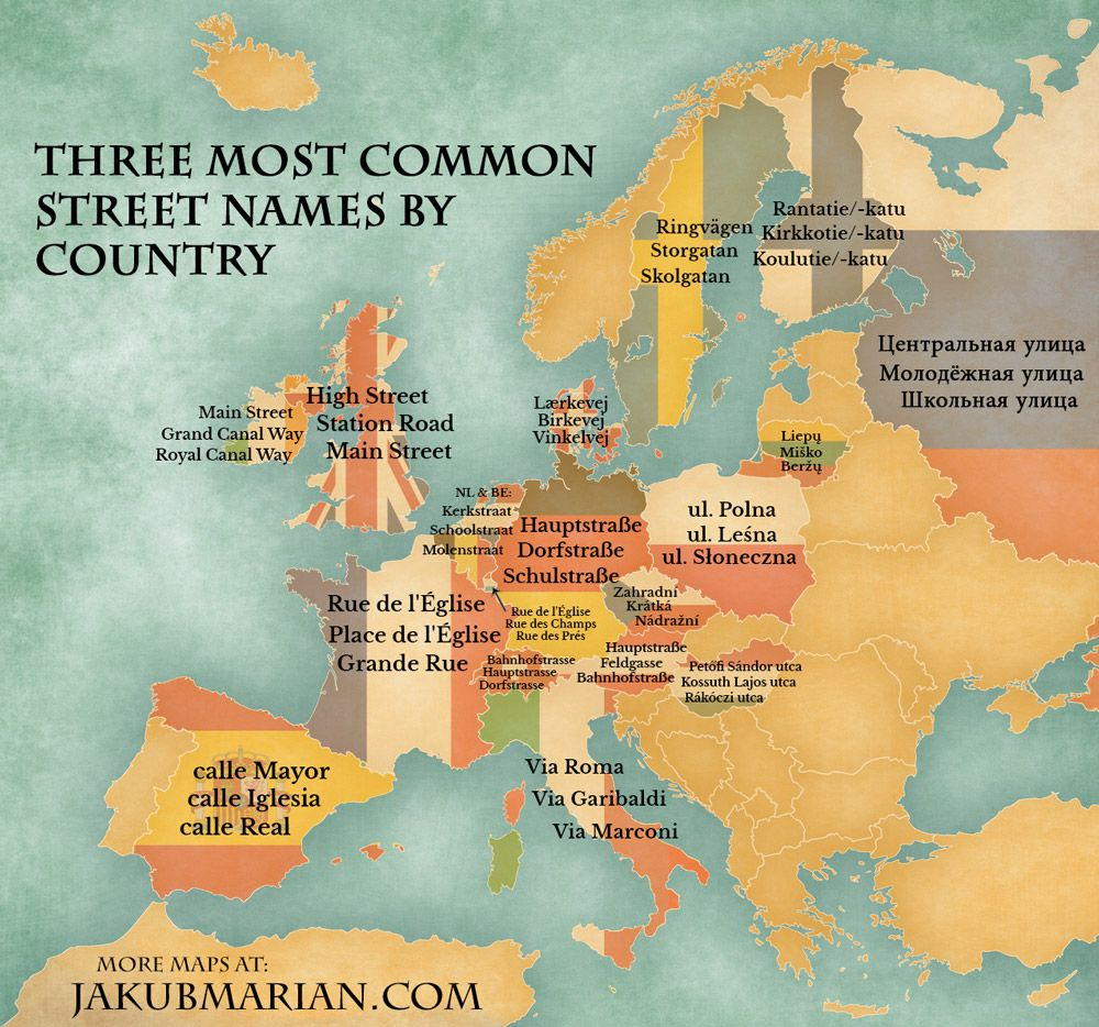 Most Common Street Names By Country In Europe Europe Map Map